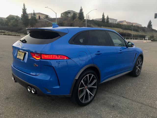 Rear 3/4 view of 2019 Jaguar F-Pace SVR