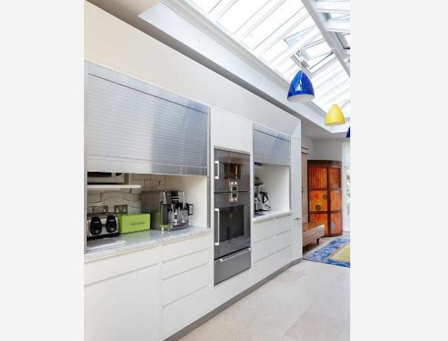 Modern hidden kitchens behind blinds