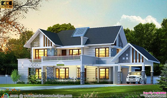 Beautiful modern sloping roof house architecture rendering