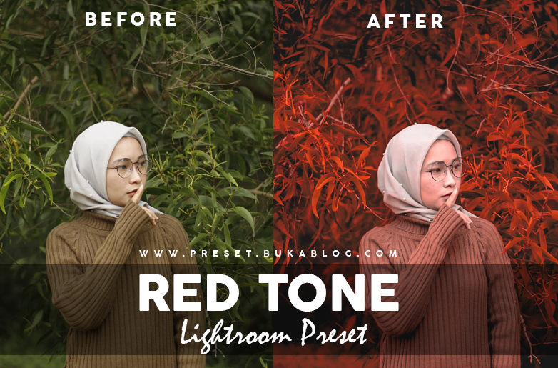 Before and After Editing Photo using Red Tone Lightroom Preset