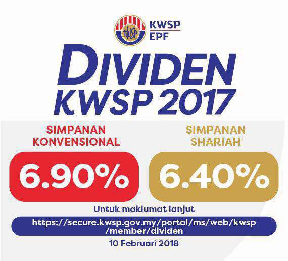 EPF declared 69 (conventional) / 64 (shariah) dividend for 2017