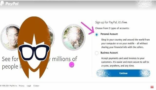 توضيح نوع الحساب -  انشاء حساب paypal
