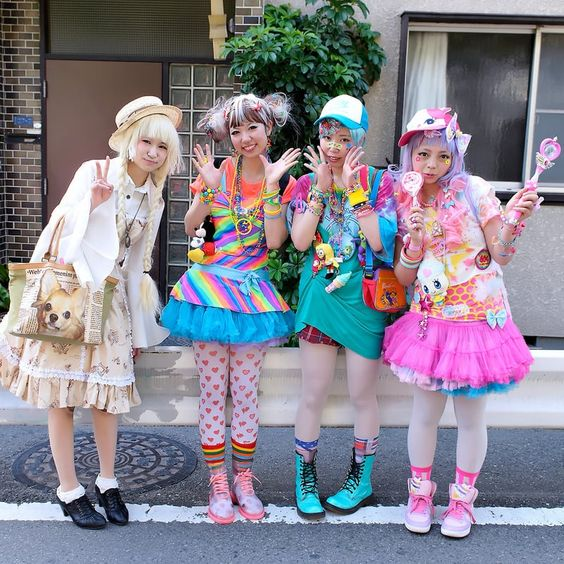 four girls wearing Harajuku style