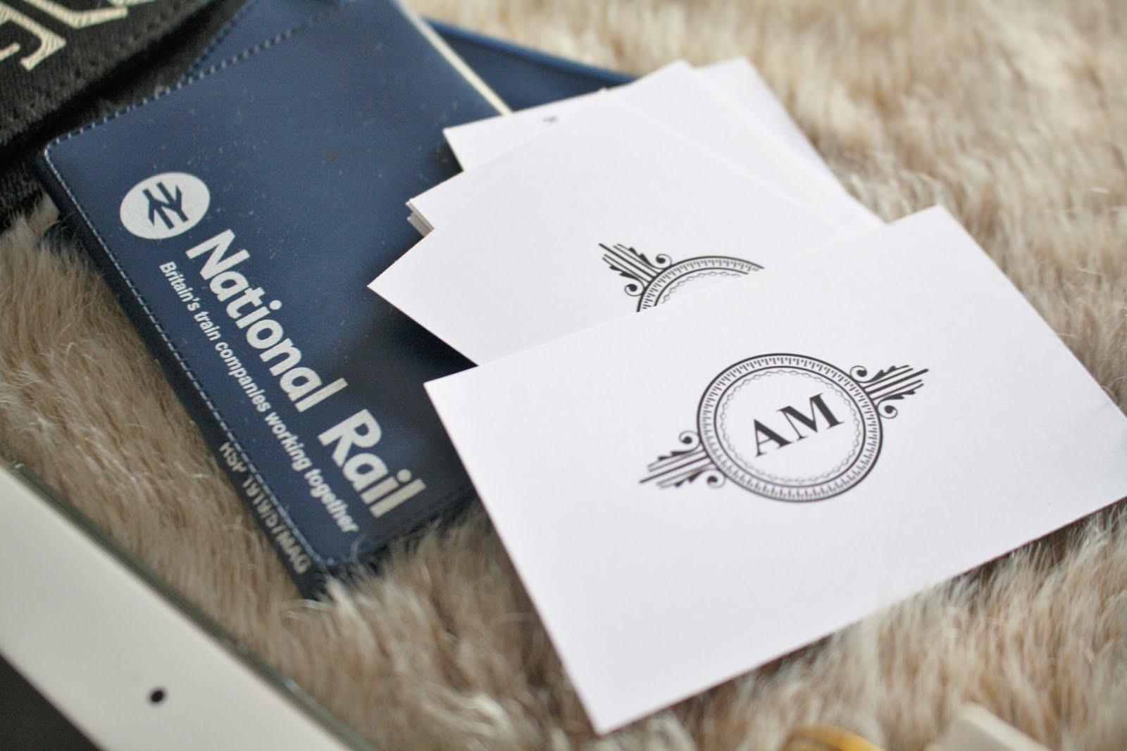 blogger essentials, flatlay, blogger event, london, travel essentials, travel kit, emma bridgewater, national rail, business cards, ideas, card holder, travel holder