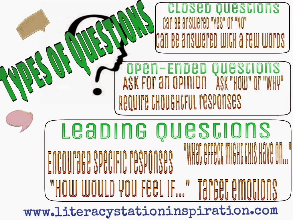 Literacy Station Inspiration Types Of Questions