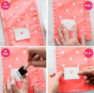 jeans customizado coração