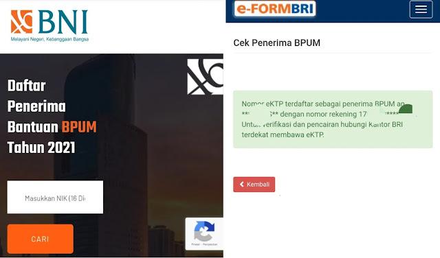 Cek Pencairan Dana BLT UMKM eform.bri.co.id/bpum atau banpresbpum.id