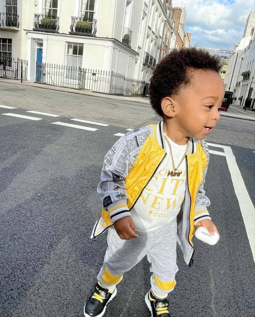 Actress, Regina Daniels shares lovely new photos of her son, Munir as he tours in London