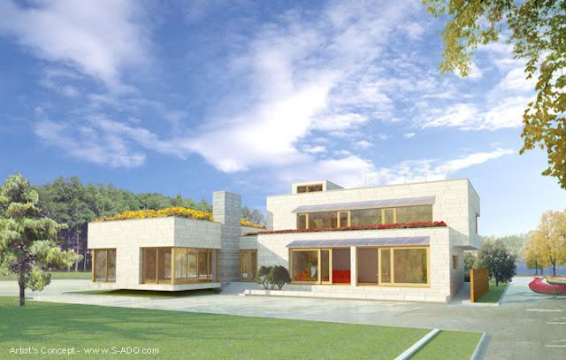 Renderizado de un proyecto de casa del futuro