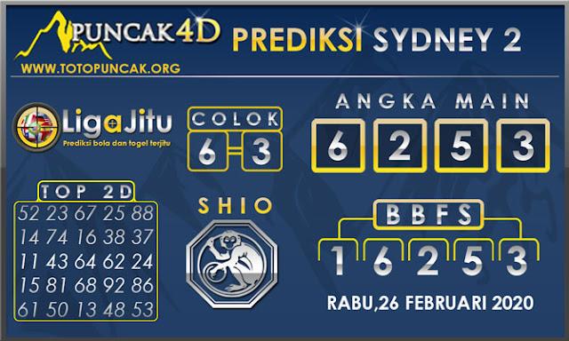 PREDIKSI TOGEL SYDNEY2 PUNCAK4D 26 FEBRUARI  2020