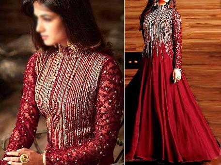 Indian Embroidered Maroon Chiffon Maxi Dress