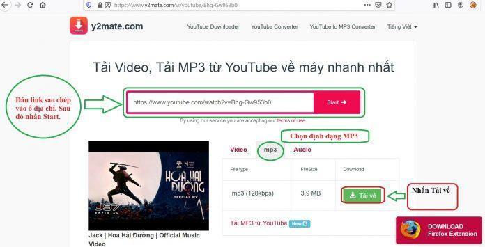 Tải file MP3 trên YouTube bằng y2mate.com