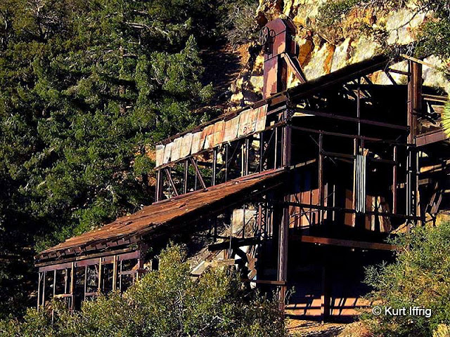 This is what's left of the Big Horn Mine's stamp mill housing. There's also a two story ore hopper inside.
