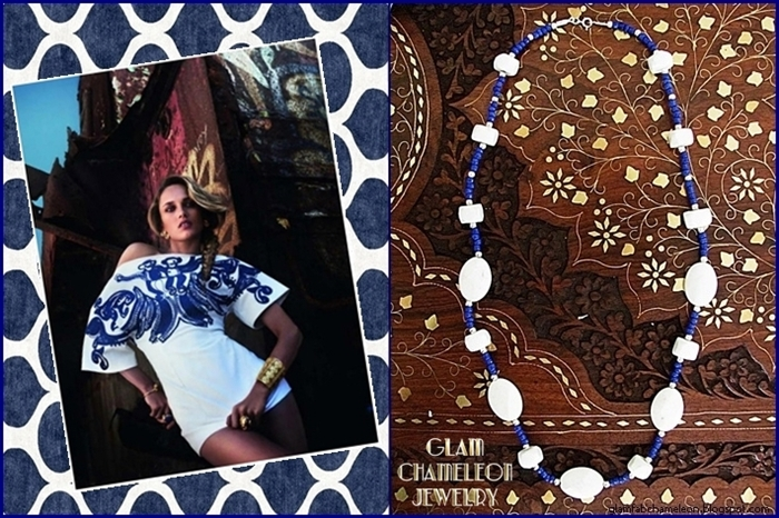 Glam Chameleon Jewelry white jade and cobalt blue beads necklace