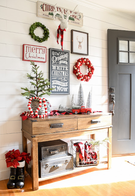 Holiday decorated entry and living room, holiday decor