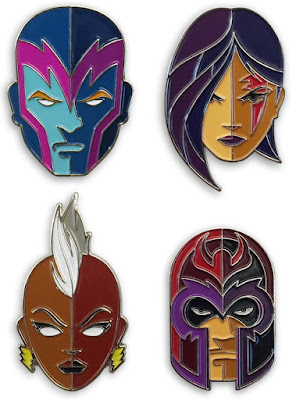 "X-Men ""4 Horsemen of Apocalypse"" Portrait Enamel Pin Set by Tom Whalen & Mondo – Archangel, Psylocke, Storm & Magento"