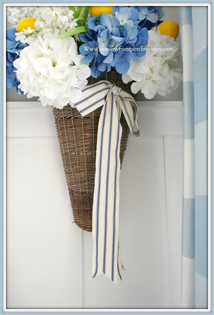 Hydrangea-Floral-Arrangement-Cottage-Style-English-French- Country- Farmhouse -Dining- Room- Late- Summer- Decor-From My Front Porch To Yours