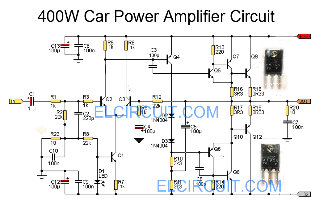 Car Power Amplifier Circuit Using C5100 A1908