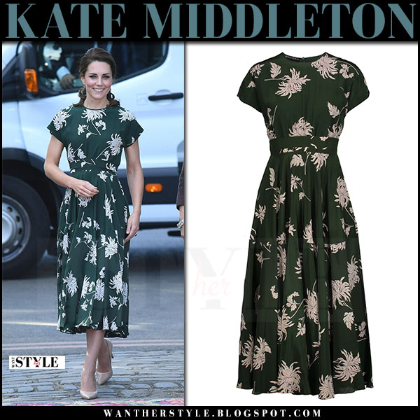 Kate Middleton in green floral print midi dress rochas what she wore may 22 2017
