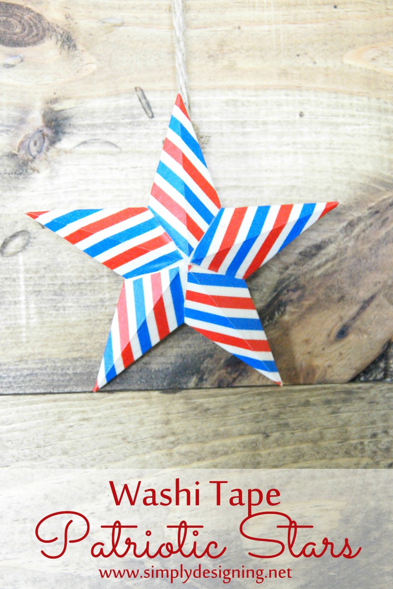 How to Make Washi Tape Patriotic Stars ~ such a simple 4th of July craft ~ pinning for later!    #4thofJuly #memorialday #patriotic #redwhiteblue #washitape