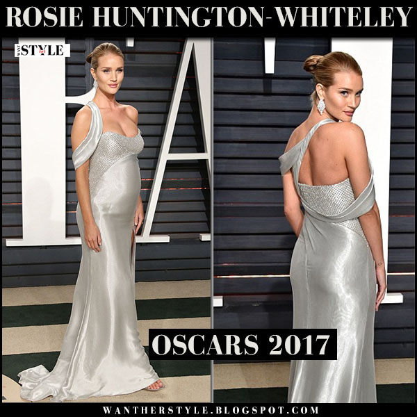 Rosie Huntington-Whiteley in silver versace gown at Vanity Fair Oscar Party 2017 what she wore baby bump red carpet