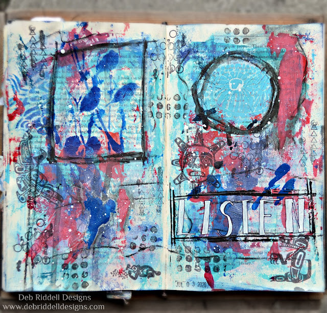 Listen Mixed Media Art Journal Page
