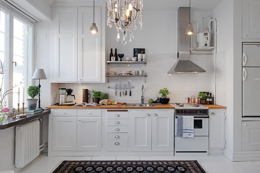 Mały apartament o powierzchni 36m² - wystrój wnętrz, wnętrza, urządzanie mieszkania, dom, home decor, dekoracje, aranżacje, styl skandynawski, scandinavian style, białe wnętrza, white home, małe wnętrza, small apartment, kuchnia, kitchen