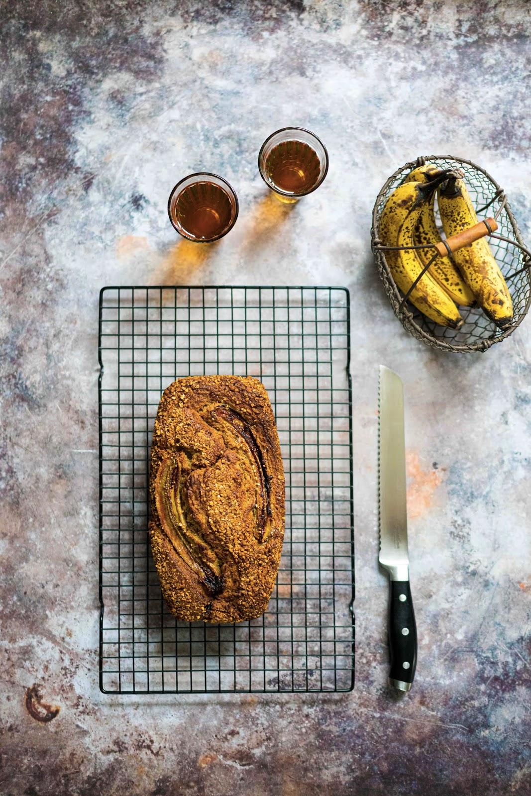banana bread , purée de sésame , cake banane