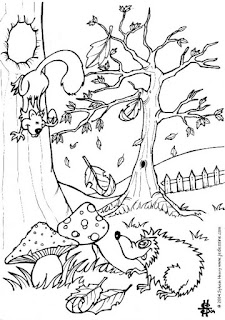 Cute Squirrel On The Jungle Coloring Sheet Printable
