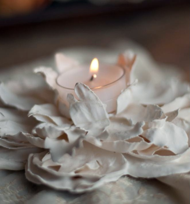 decorate with real flower plaster of paris votive collections