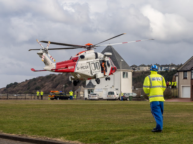 Photo of the Coastguard search and rescue helicopter taking off