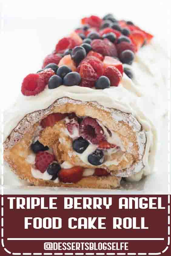 This Triple Berry Angel Food Cake Roll is an easy red, white and blue dessert (or just red and white!) for the 4th of July or Canada Day, or any day! Perfect with fresh summer strawberries, raspberries and blueberries Includes step by step recipe video. #DessertsBlogSelfe  #video #recipe #recipevideo #cake #dessert #strawberry #blueberry #raspberry #HealthyDesserts #withfruit #berries