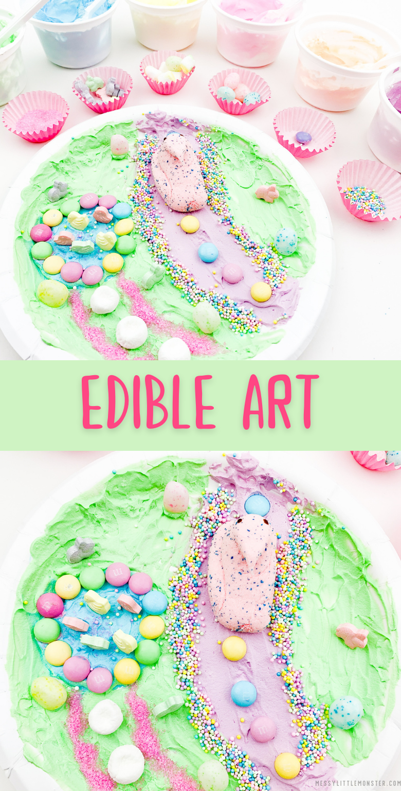 Edible art for kids. Edible paint and candy. Food art.