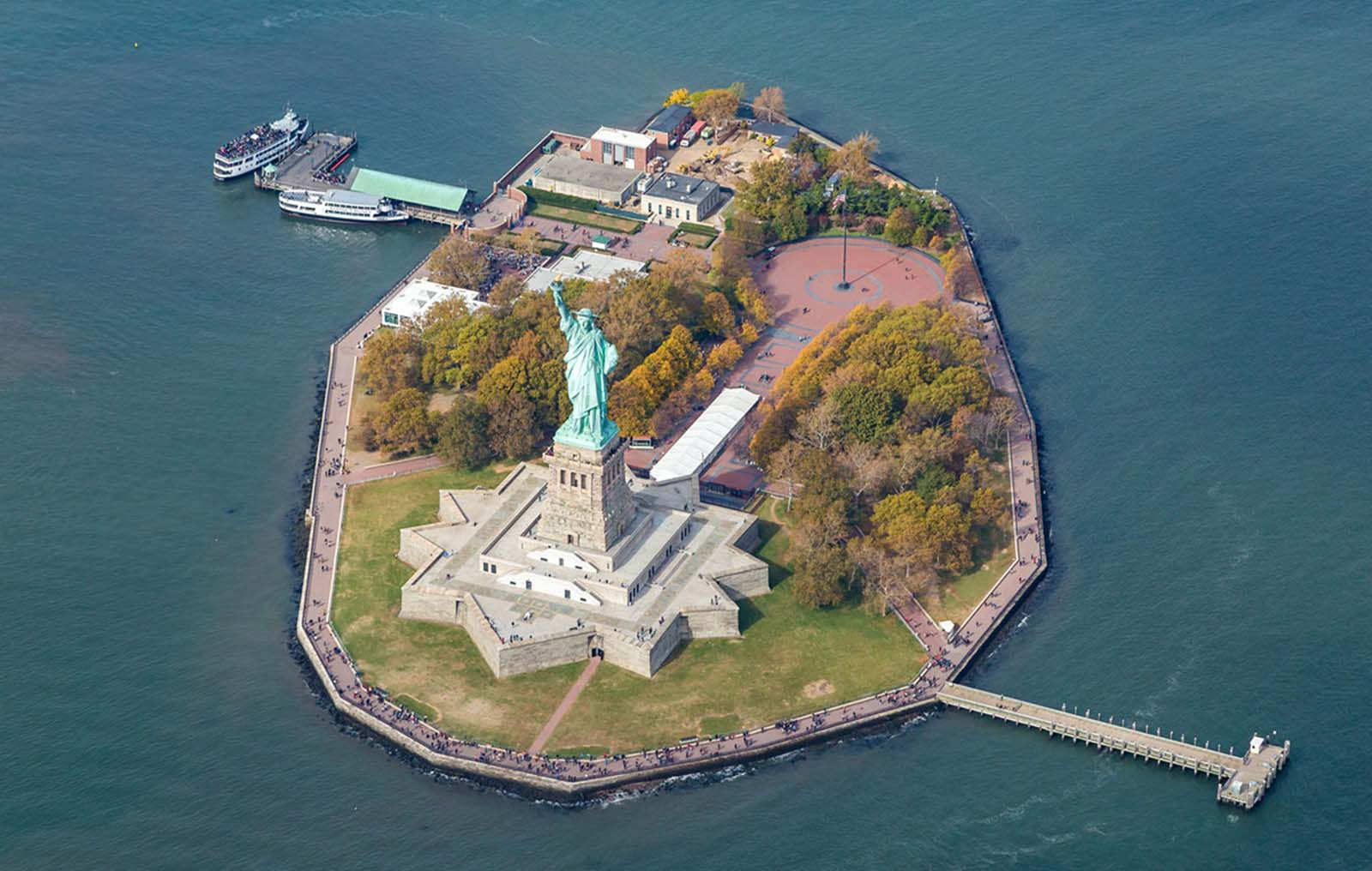 An aerial view of the statue and Liberty Island, taken in October 2015.