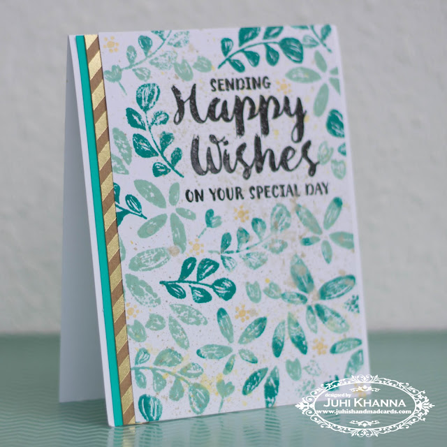 WPlus9 Happy Wishes stamped card