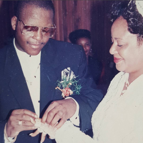 Shina Peters and his wife Sammy on their wedding day,Sammy later had cancer which she treated in America