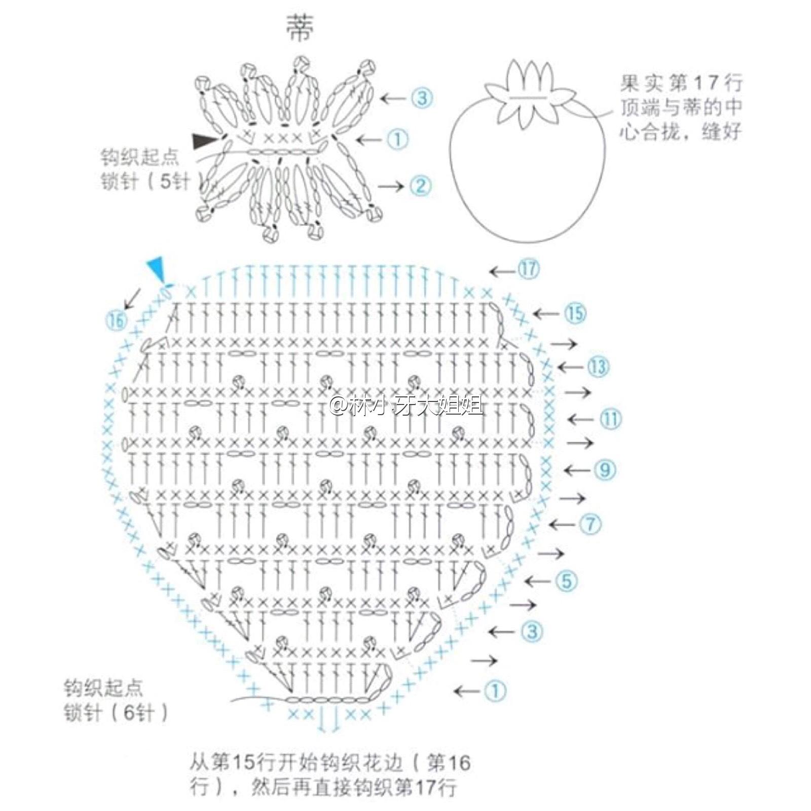 Крючком клубника схемы