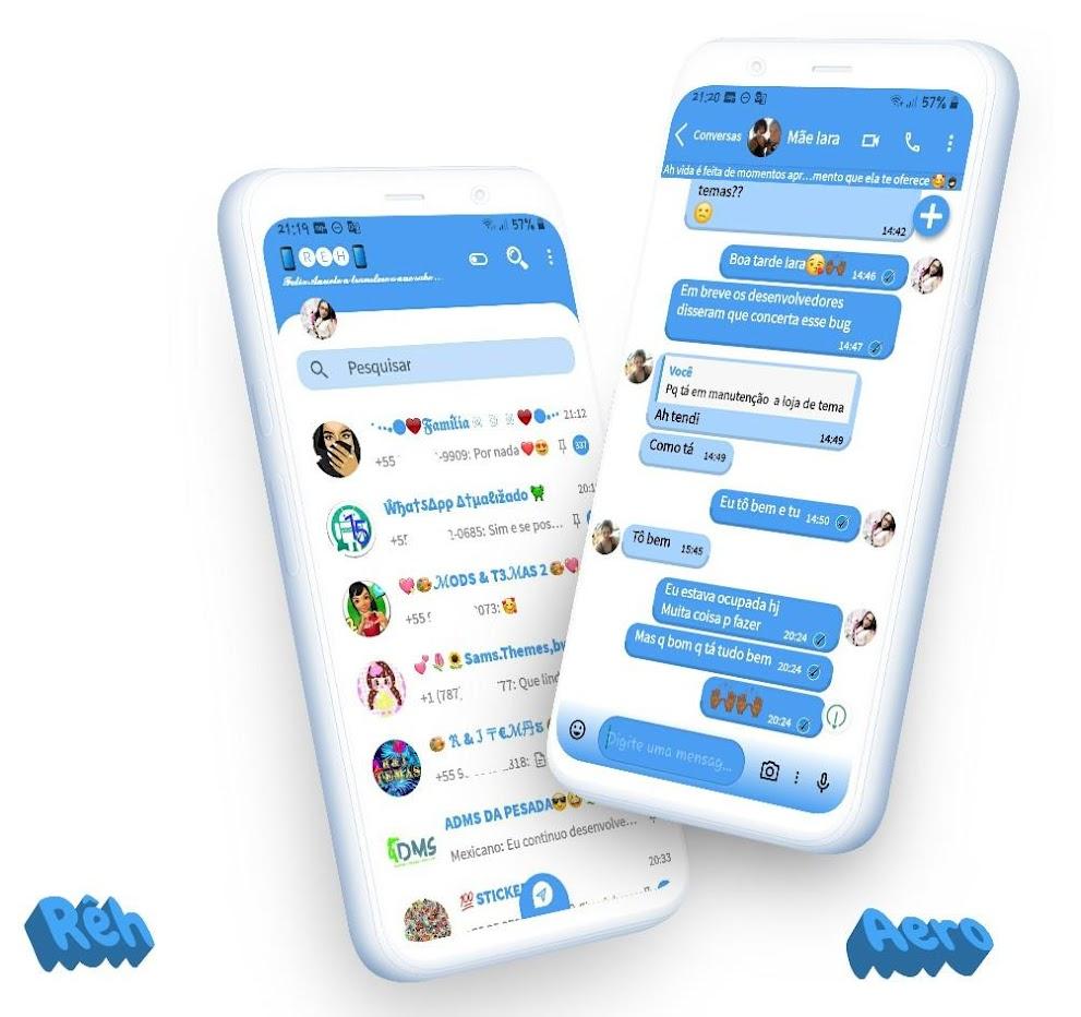 IOS White Blue 3 Theme For YOWhatsApp & GB WhatsApp By Reh