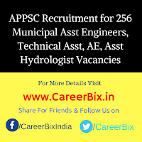 APPSC Recruitment for 256 Municipal Asst Engineers, Technical Asst, AE, Asst Hydrologist Vacancies