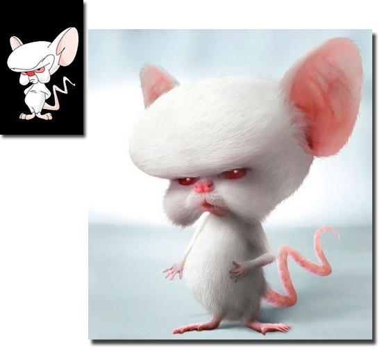 Personagens de desenhos como se fossem de carne e osso - Cérebro do Pink e Cérebro