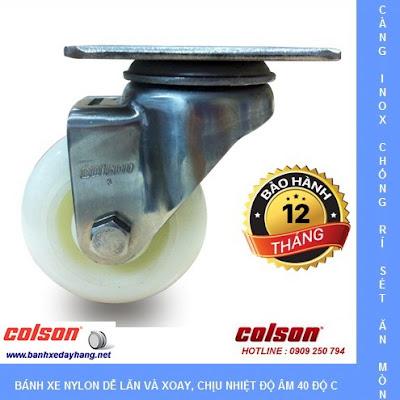 Bánh xe đẩy càng inox 304, bánh xe Nylon tải từ 100kg đến 136kg/bánh www.banhxeday.xyz