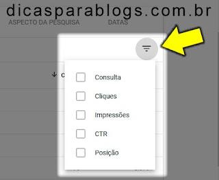 filtros do google search console