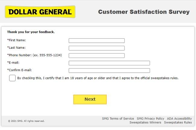 dollar general survey without receipt
