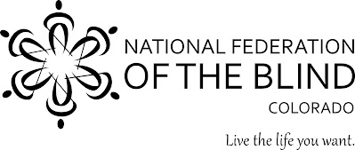 Black and white logo of the National Federation of the Blind of Colorado including the tagline Live the Life you want