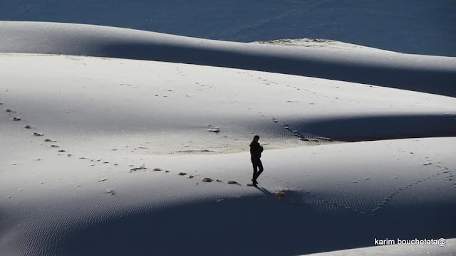 Frost covers the world's hottest desert in white