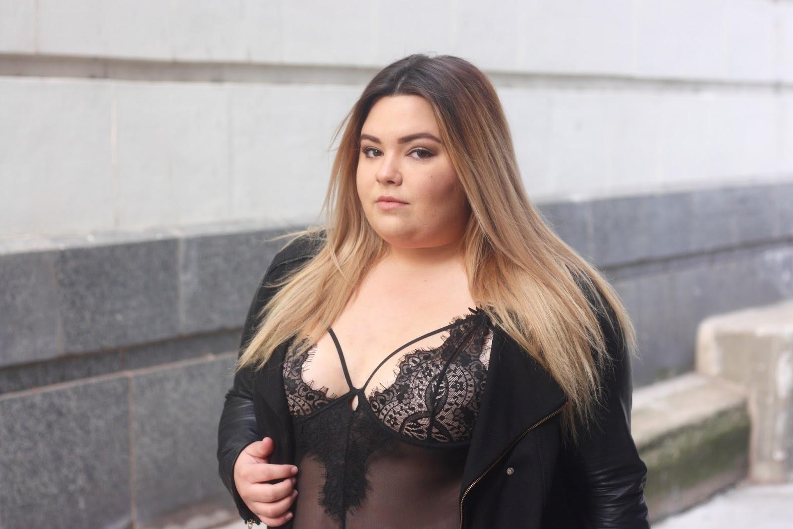 lingerie, street style, leather jacket, plus size fashion, natalie craig, natalie in the city, khloe kardashian, good american, fatshion, embrace your curves, curvy, what fat girls actually wear, chicago fashion blogger, lace bodysuit, midwest blogger, plus size lingerie