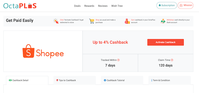 Activate Cashback
