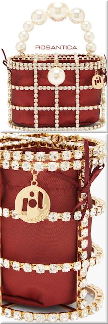 Rosantica red Holli crystal-embellished cage handbag #bags #eveningbags #rosantica #brilliantluxury