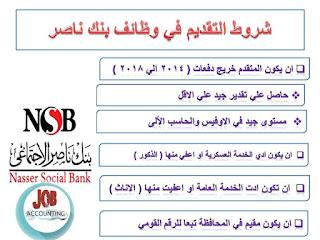 وظائف محاسبين فى مصر | اعلان وظائف في بنك ناصر لخريجين كلية تجارة دفعات 2014 الي 2018