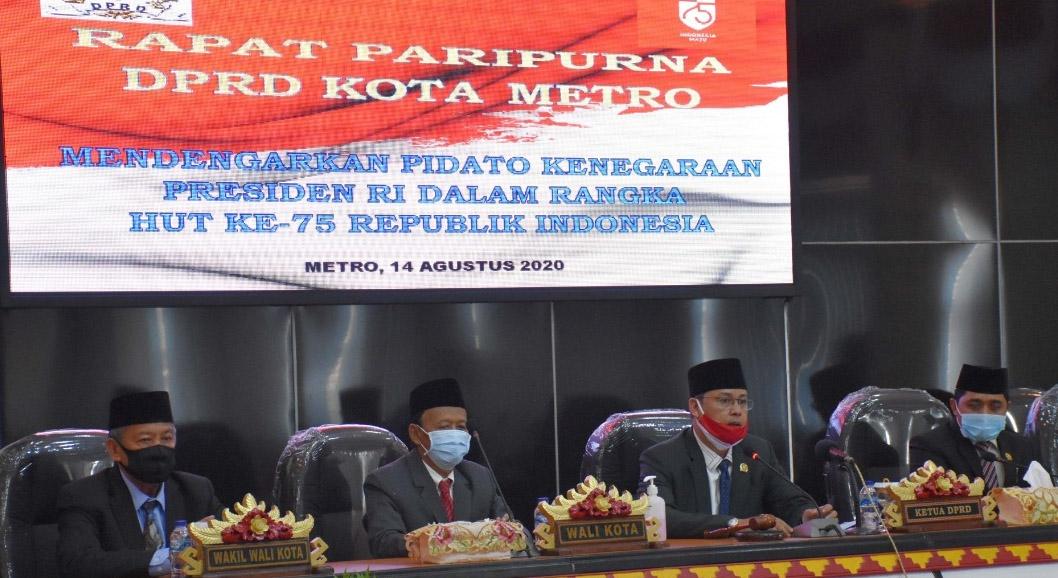 Jelang HUT RI 75, DPRD Metro Gelar Sidang Istimewa Dengarkan Pidato Presiden RI